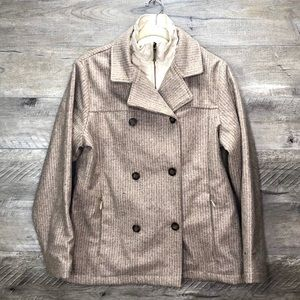 WOOLRICH OATMEAL HEATHER DOUBLE BREASTED PEACOAT M